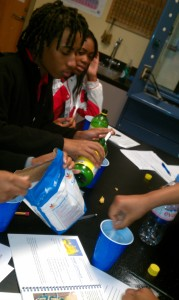 Students make lemonade to learn about reactions.
