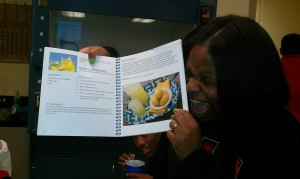 Student shows her enthusiasm for the Sweet Lemonade recipe.