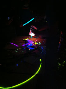 Halstead High School ChemClub members served up a smorgasbord of luminescent glow stick experiments.